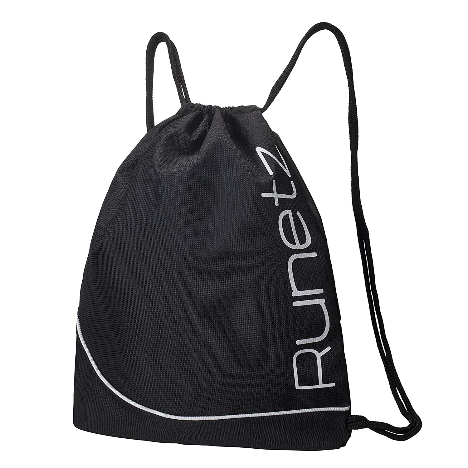 Amazon.com: Runetz - BLACK Gym Sack Bag Drawstring Backpack Sport ...