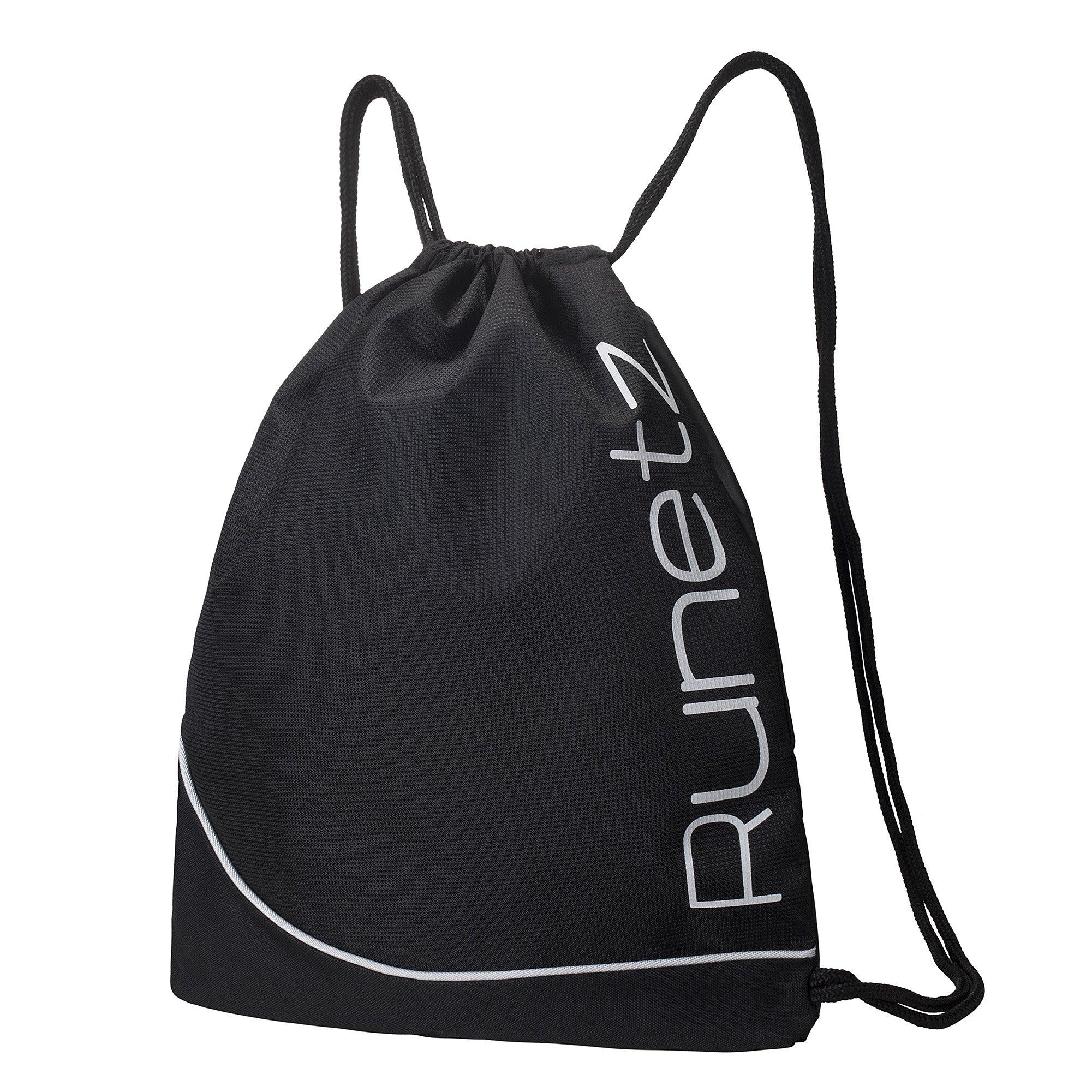 Runetz - BLACK Gym Sack Bag Drawstring Backpack Sport Bag for Men & Women Sackpack - Black