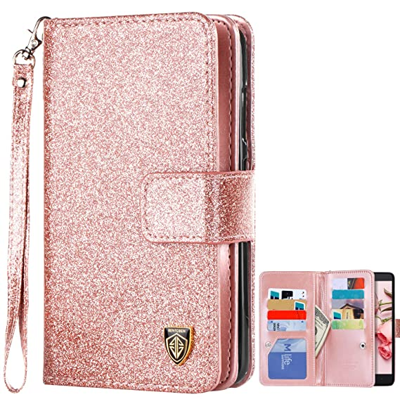 Cell Phone Accessories United For Zte Max Xl Blade Glitter Wallet Phone Case Hybrid Extra Pocket Stand Purse Customers First