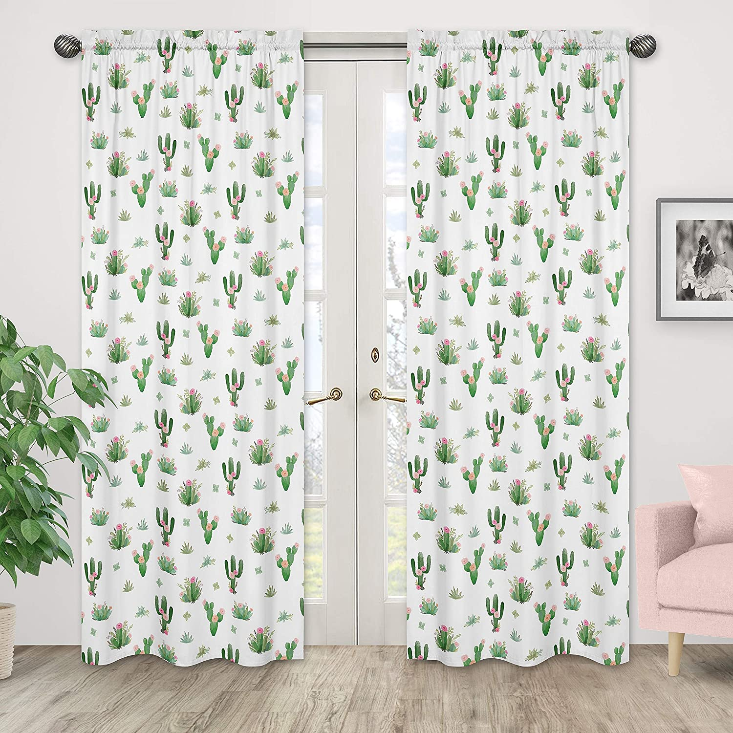 Floral Curtains drapes cactus curtains nursery curtains baby gift new born Bedding