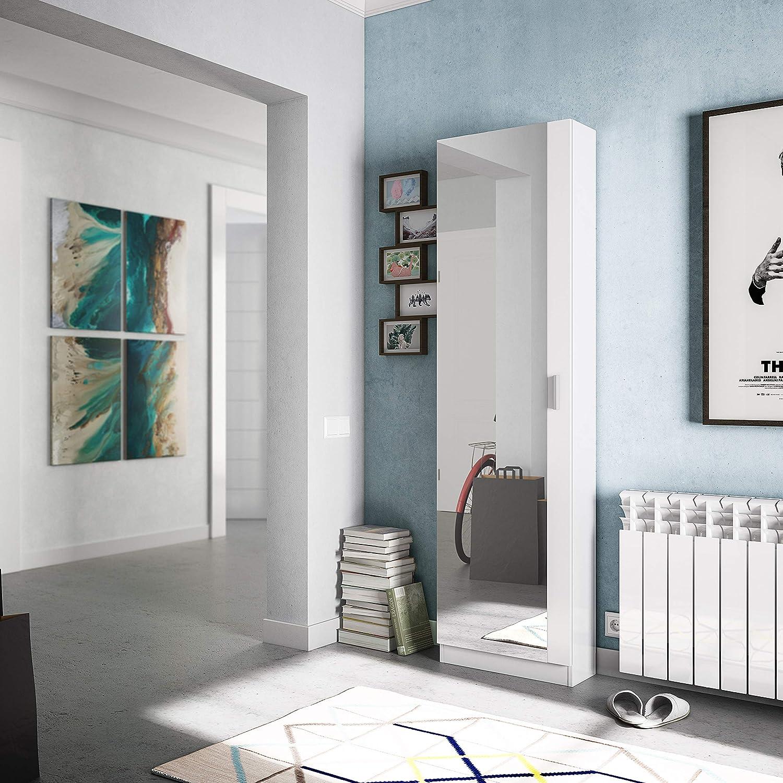 Habitdesign Zapatero con Espejo, madera, color Blanco Brillo