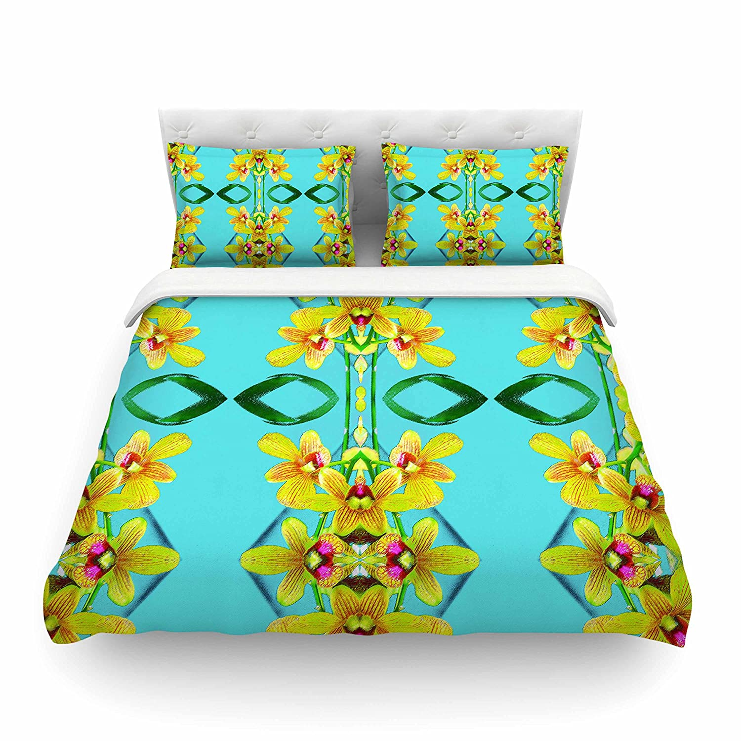 68 by 88-Inch KESS InHouse Dawid Roc  Tropical Floral Orchids 3 Teal Floral Twin Cotton Duvet Cover