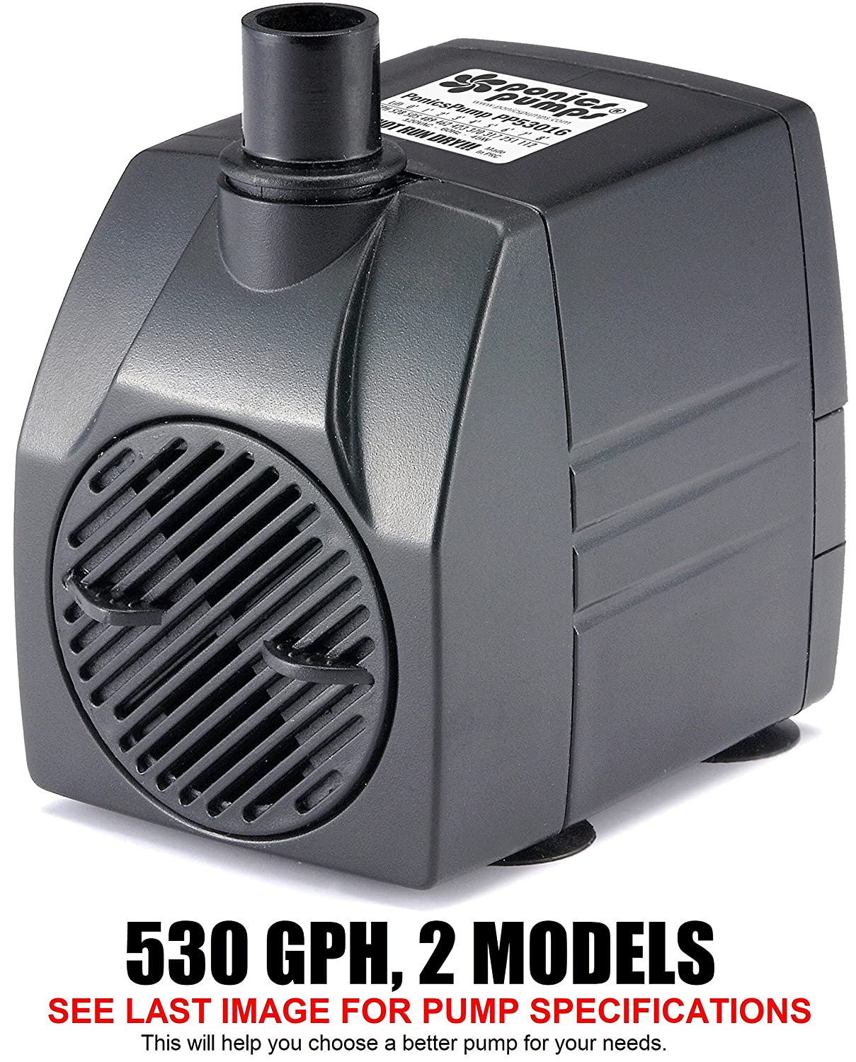 PonicsPumps Submersible Pump with for Hydroponics, Aquaponics, Fountains, Ponds, Statuary, Aquariums & more. Comes with 1 year limited warranty. (530 GPH : 16' Cord)