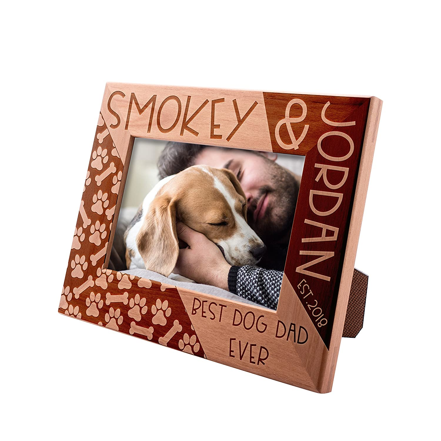 Personalized Picture Frame 4x6, Best Dog Dad Ever Custom Engraved with Names & Year - Dog Father Gift -2