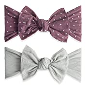 Baby Bling Bows 2 Pack - Girls Shabby Dot and Classic Knot Headbands Lilac Grey