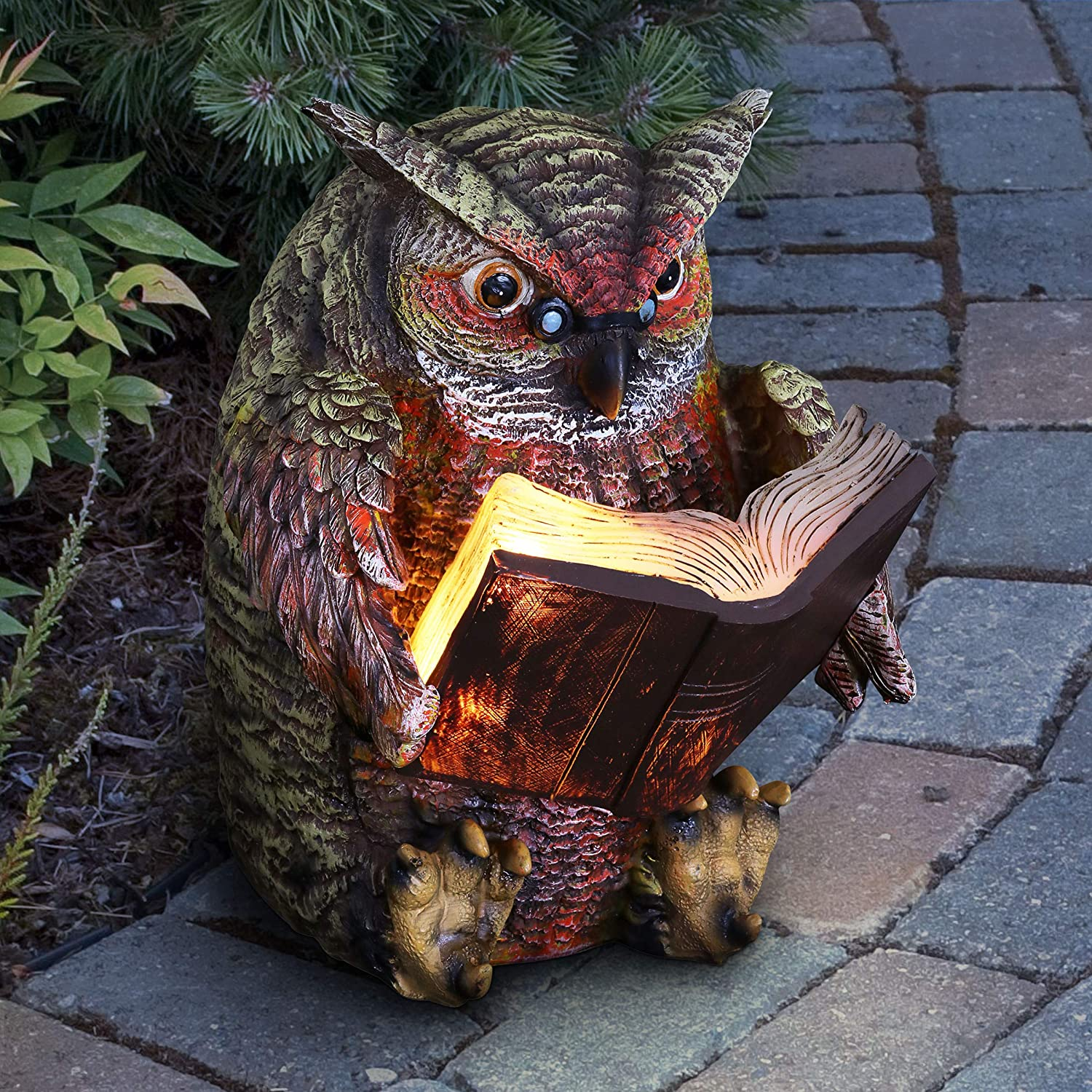 """Exhart Reading Owl Resin Statue w/Solar Garden Lights - Solar Owl Mini Figurine, Bookworm Owl Statue, Resin Owl Decor, Owl Decorations for Bedroom, Private Library & Living Room, 7"""" L x 9"""" W x 9"""" H"""
