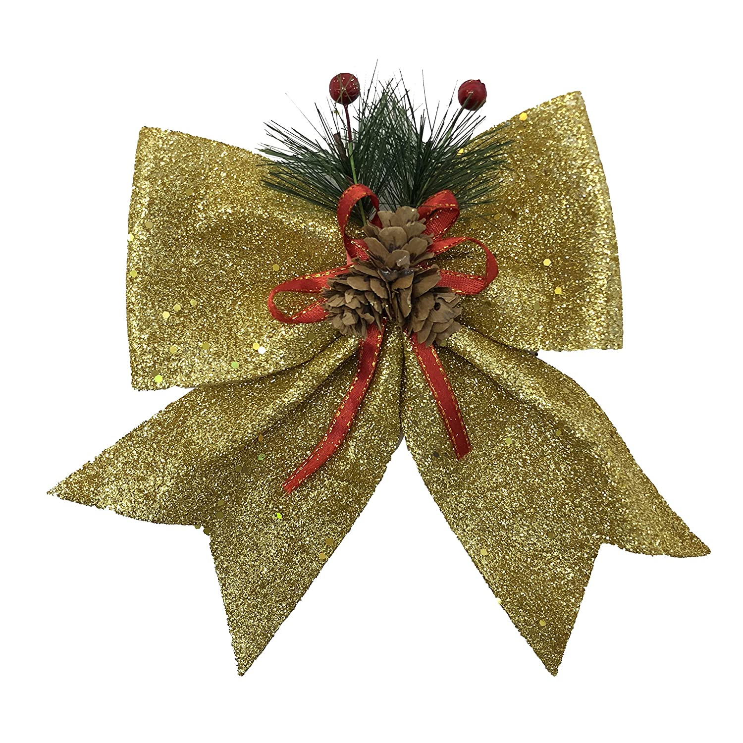 allgala Christmas Decorative Bows for Wreath Garland Treetopper Christmas Tree (9 Medium Gold, 4 PK)