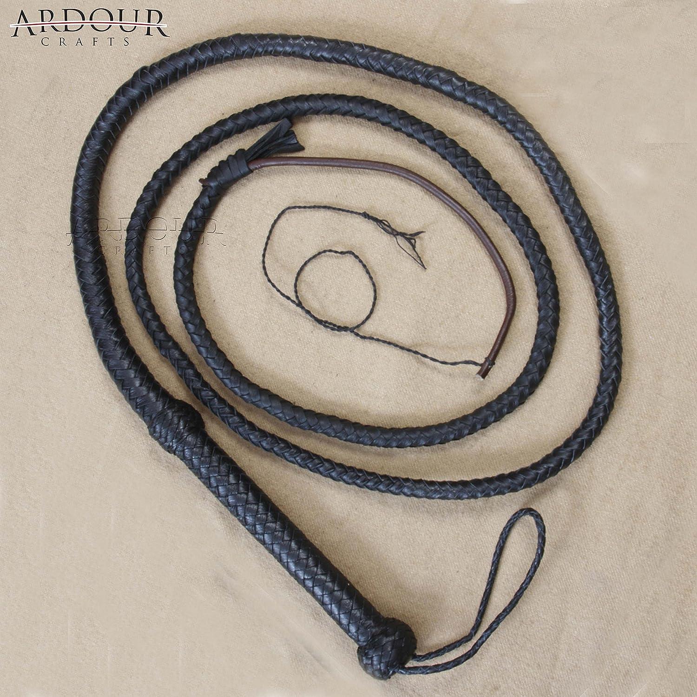 Genuine Black Leather 8 Feet Long 8 Plait Weaving bull Whip Ardour Crafts International