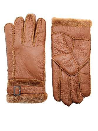 6f24873b0 YISEVEN Men's Rugged Shearling Sheepskin Mittens Gloves Adjustable Buckle Sherpa  Fur Cuff Thick Wool Lined and