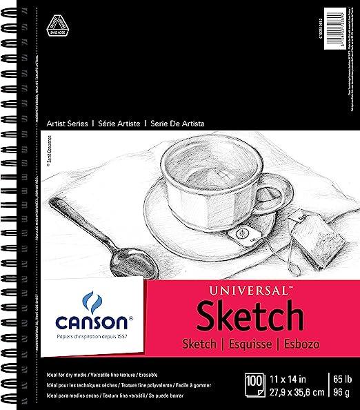 11x14 Black Heavyweight Paper Spiral Bound Sketch Pad,140gsm,30 Sheets 2 Pads