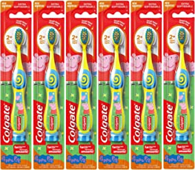 Colgate Peppa Pig Kids Manual Toothbrush with Suction Cup for Little Children Ages 2+,