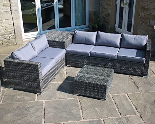 Rattan Outdoor Garden Furniture Corner Sofa With Storage Box In Grey
