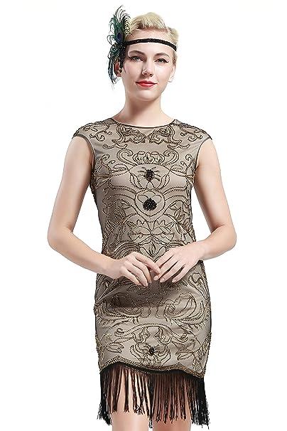 BABEYOND Vintage Gatsby de los años 20 rebordeó el Vestido Adornado con Franjas de la Aleta