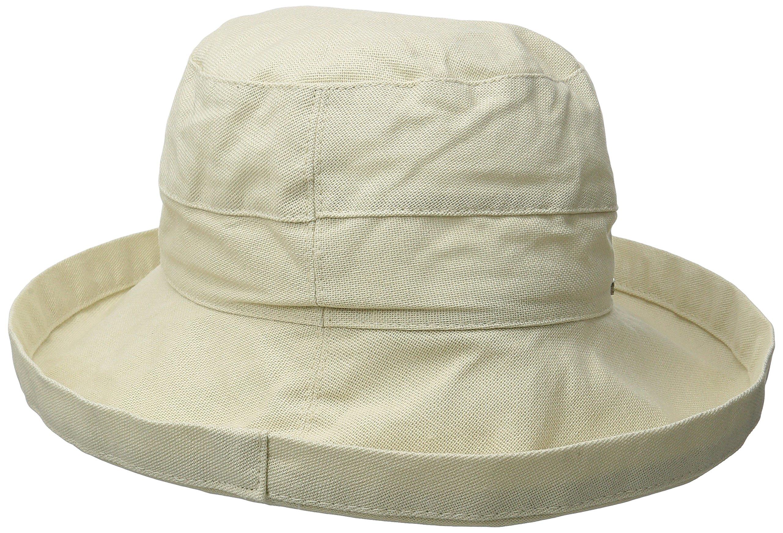 Scala Women's Medium Brim Cotton Hat, Natural, One Size