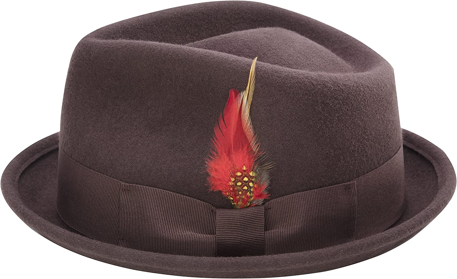 MONTIQUE Bogart Stingy Brim Fine Heather Wool Felt Teardrop Dent Hat with Feather H-54