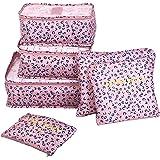 Shopper Joy 6 Pezzi Organizer per Valigie Organizzatore dei Bagagli da Viaggio 3 Cubi di Imballaggio 3 Borse per il Viaggio in Campeggio - Leopardo