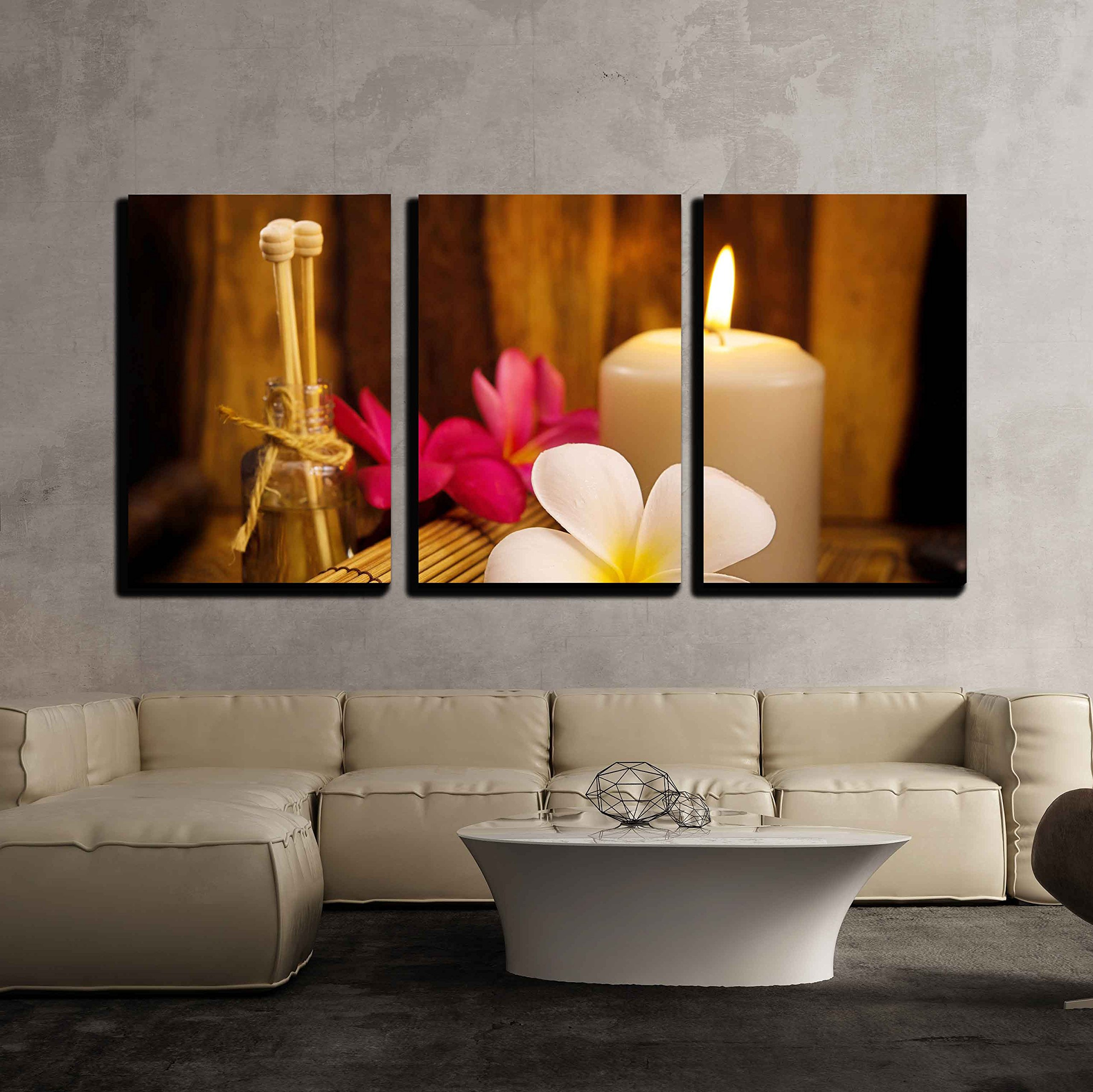 wall26 3 Piece Canvas Wall Art - Spa Still Life with Aromatic Candles and Frangipani - Modern Home Decor Stretched and Framed Ready to Hang - 24''x36''x3 Panels