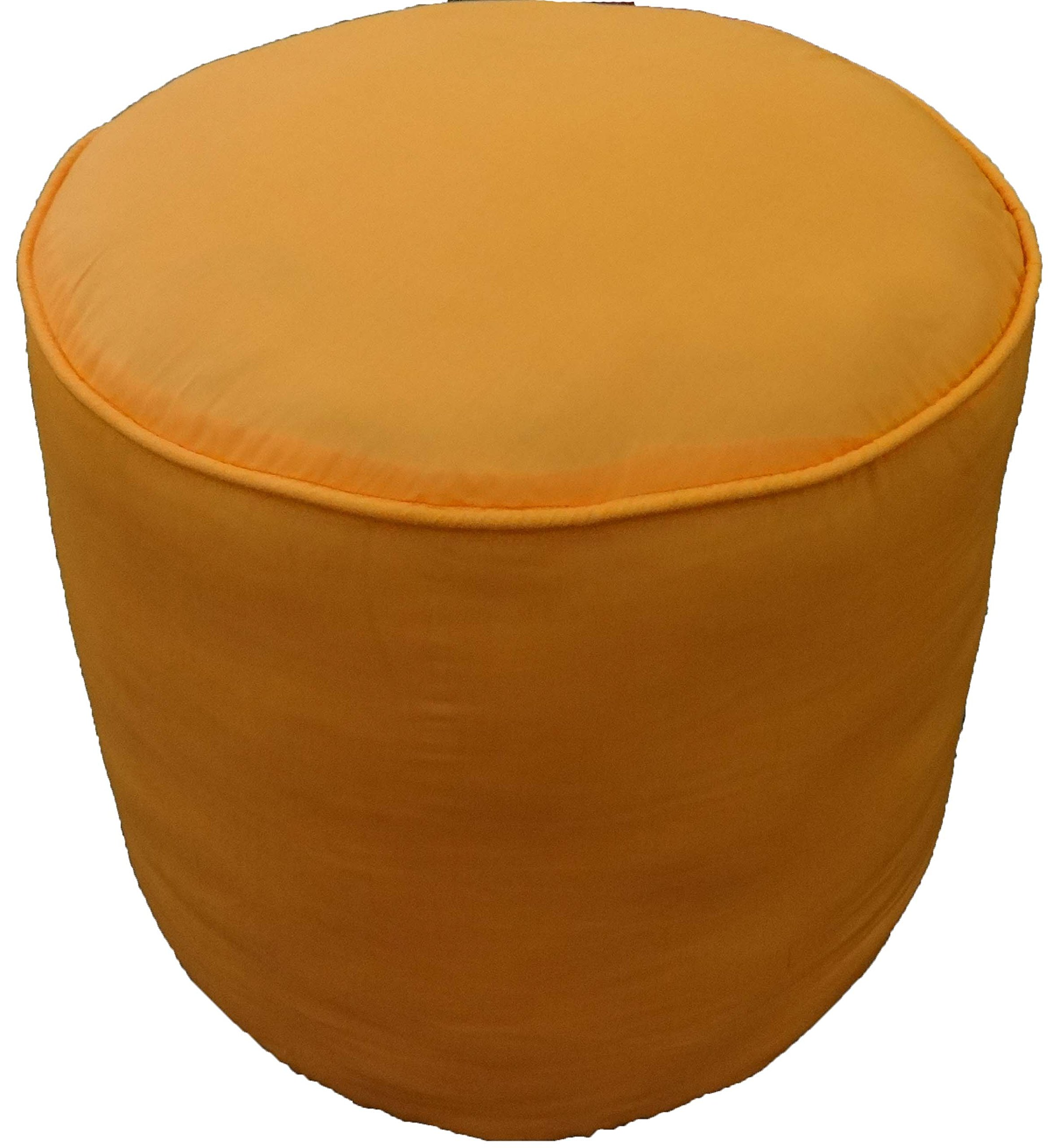 100% Cotton Plain Piping Round Ottoman Throw Pouf Cover (20''Wx16''H, Saffron) COVER ONLY, Not Stuffed , Insert not Included