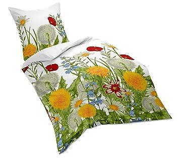 Fleuresse Mako Satin Bettwäsche Sommerliche Blumenwiese 155 X 220