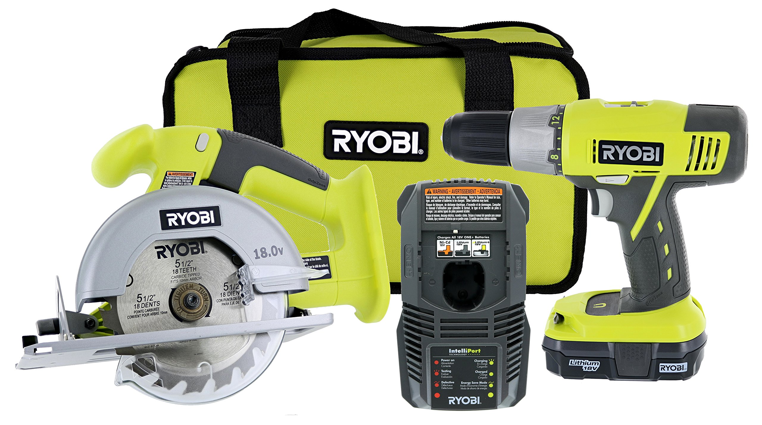 Ryobi P825 18V One+ Cordless Lithium Ion Power Tool Starter Kit (Includes 1/2'' Drill / Driver, 5 1/2'' Circular Saw, Compact Battery, Charger, and Contractor's Bag)