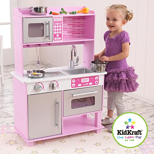 Amazon.com: KidKraft Girl\'s Pink Toddler Kitchen with Accessories ...