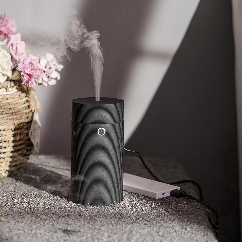 AOMY Mini Car Humidifier Esstential Oil Diffuser Cool Mist USB Powered Waterless Auto Shut-Off Home Office Bedroom Car(Plain Black) U55
