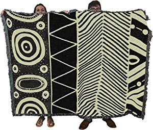 Pure Country Weavers Safari Mud Cloth African Style Woven Throw Blanket Design 100% Cotton 72x54 Made in USA