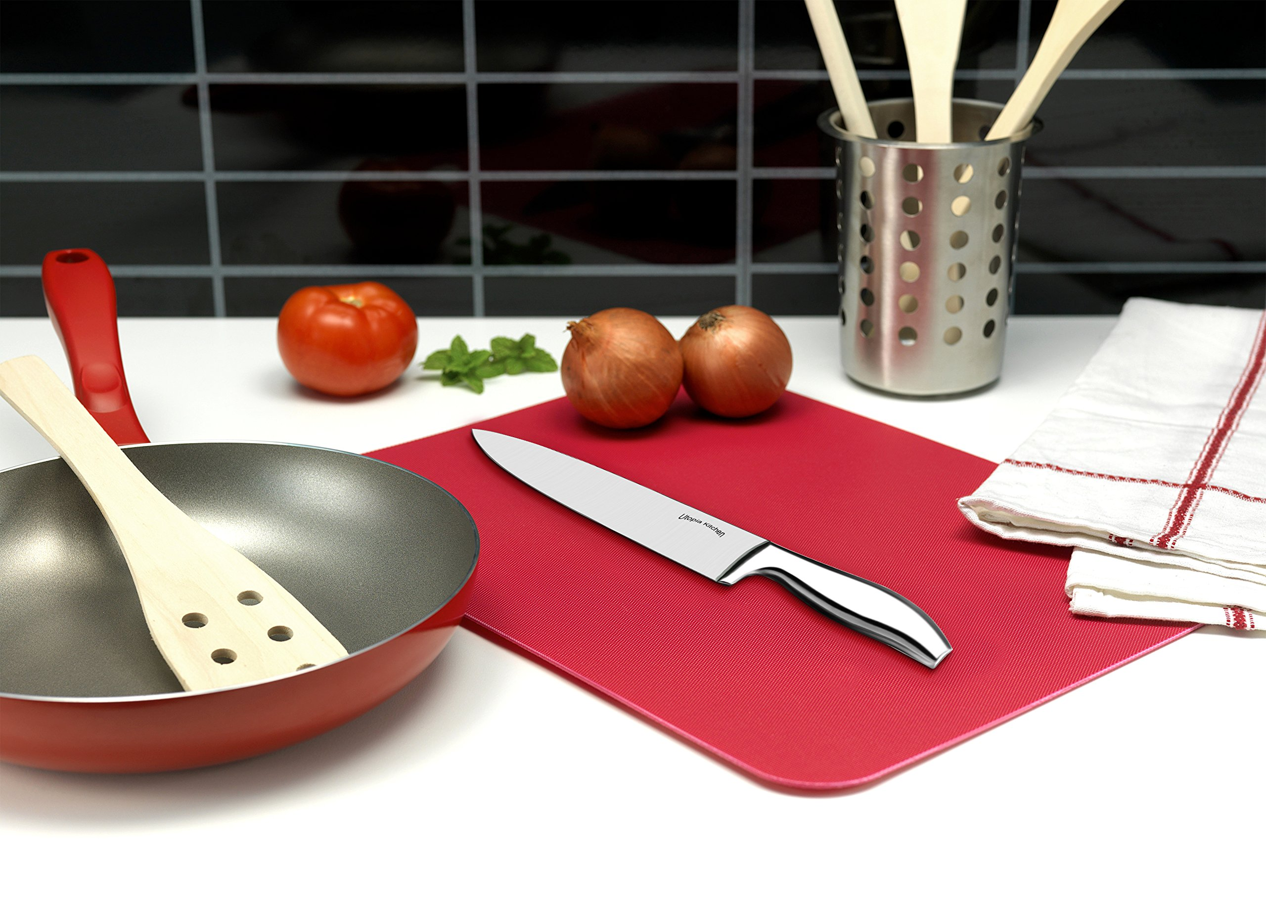 Utopia Kitchen Knife Set - 12 Pieces - Steel Handles Stainless Steel Knives with an Acrylic Stand by Utopia Kitchen (Image #3)