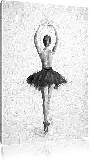 Ballerina mit nackten Oberkörper Pinsel Effekt, Format: 120x80 auf Leinwand, XXL riesige Bilder fertig gerahmt mit Keilrahmen, Kunstdruck auf Wandbild