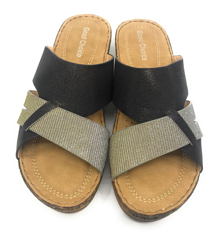 Gc Shoes B07BB3H98B Raquel Low Wedge Comfort Slide Cushioned Sandal B07BB3H98B Shoes 11 B(M) US|Black 80879d