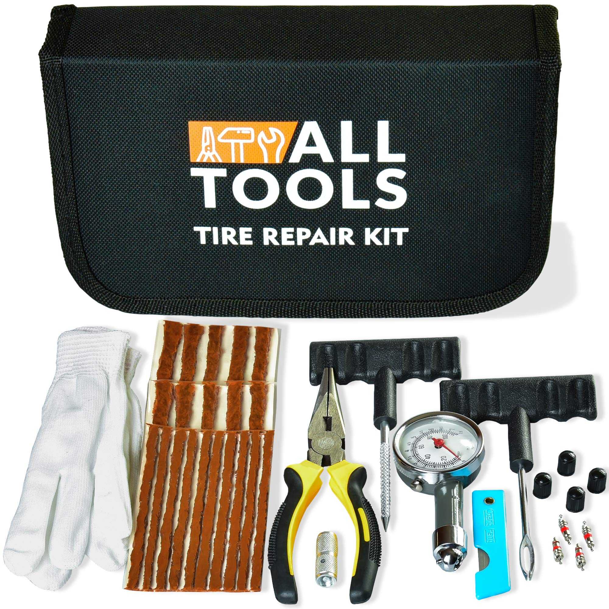 Heavy Duty Tire Repair Kit for Car Bike Motorcycle Trailer RV ATV Jeep Truck Tractor with Quality Tire Pressure Gauge, Gloves - Flat Tire Plug Tubeless Kit - Emergency Puncture Repair Patch Kit by ALLTOOLS