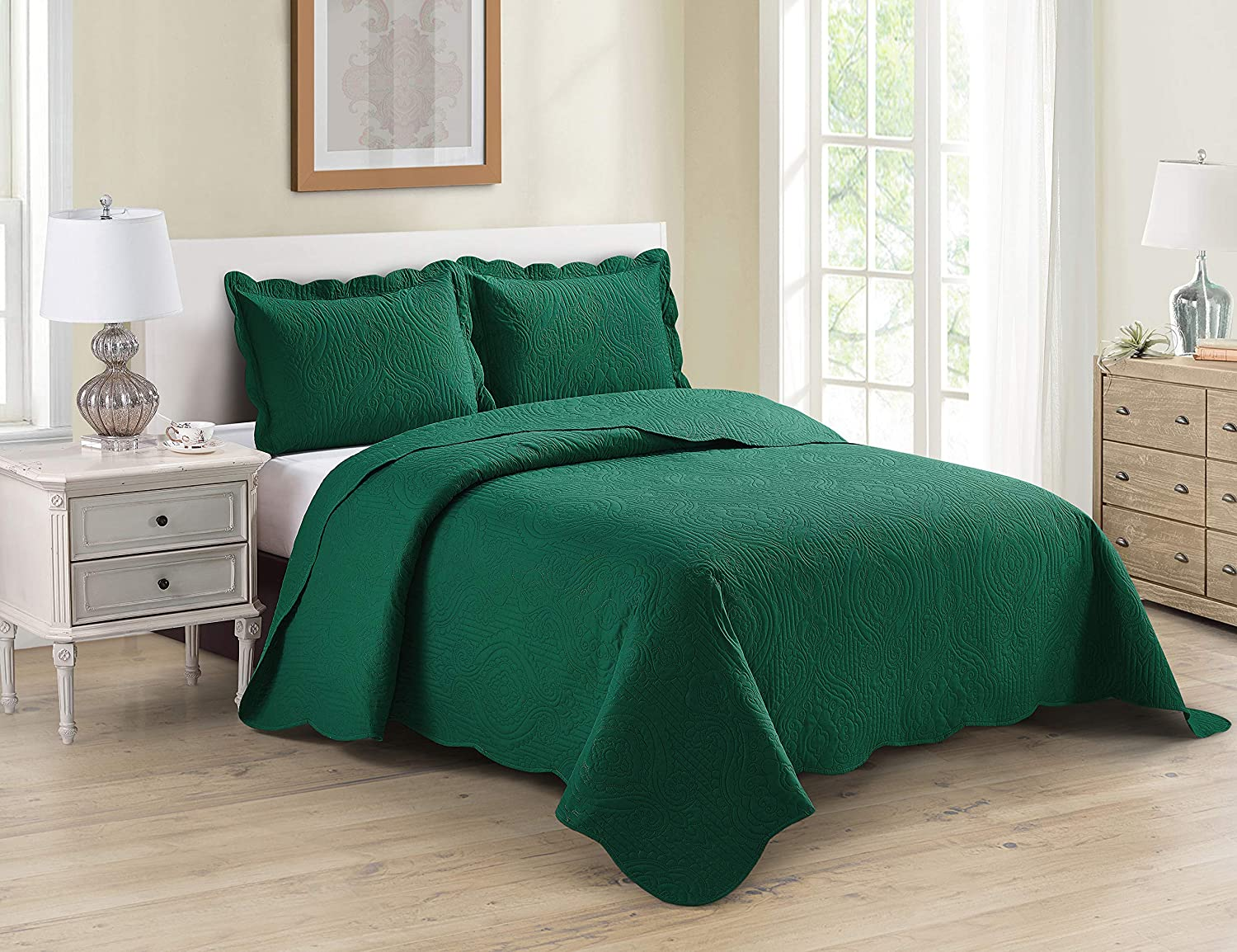 Home Collection 3pc King/Cal King Over Size Luxury Embossed Bedspread Set Light Weight Solid Hunter Green New