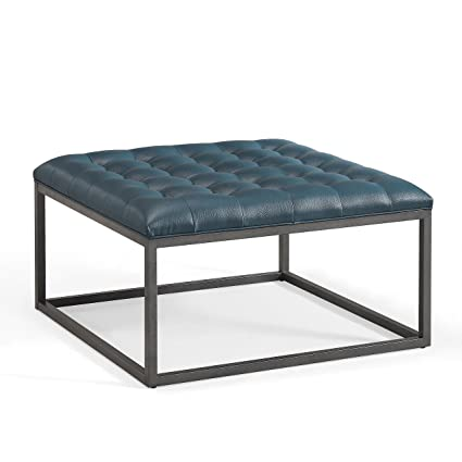 Amazon.com: Modern Button Tufted Top Teal Leather Square Ottoman ...