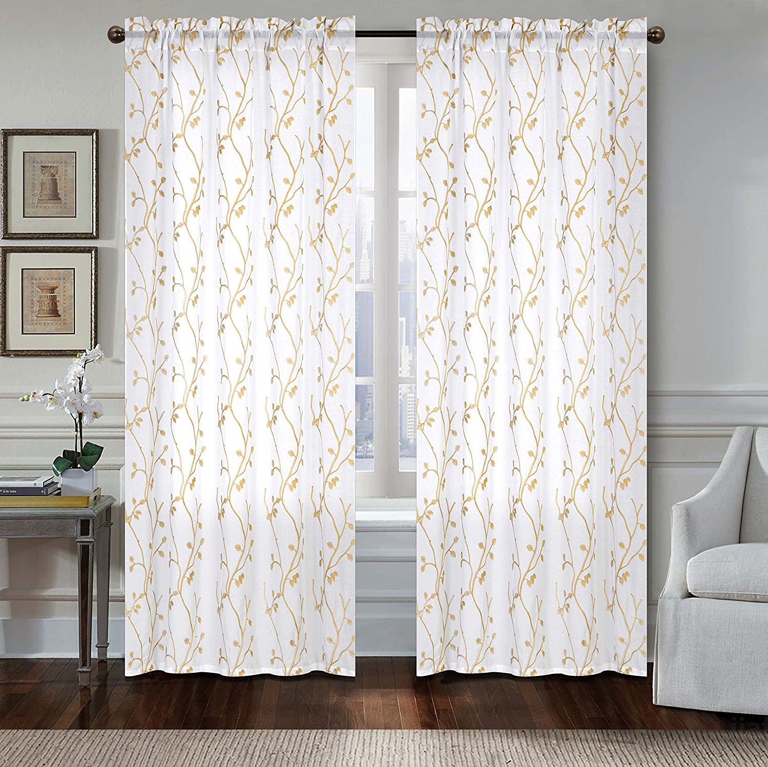 """All American Collection Leaf Embroidered Sheer Panel 55""""x84"""" (Taupe"""
