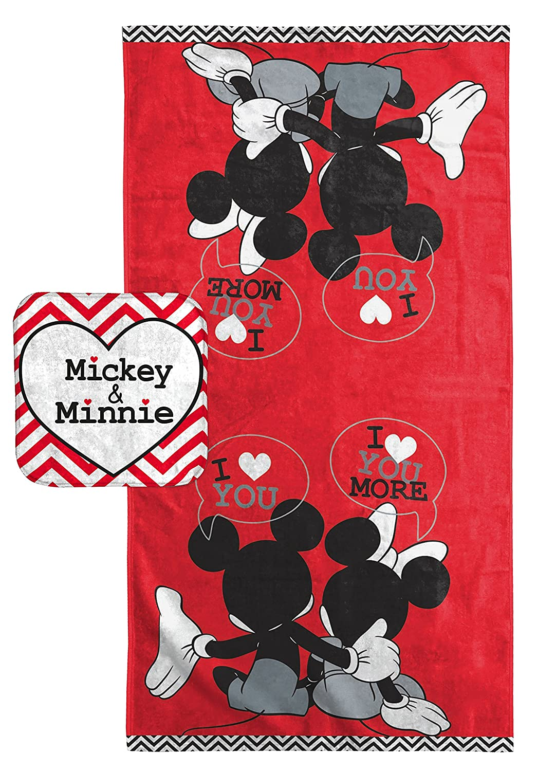 "Disney Mickey Mouse/Minnie Mouse ""Luv U More"" Cotton 2 Piece Bath/Washcloth Set 91KduXVeOML"