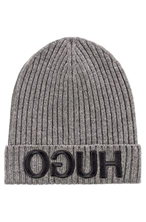 e36356bab79ae6 Image Unavailable. Image not available for. Color: Hugo Boss Unisex-X 537  Grey Wool Beanie Cap ...