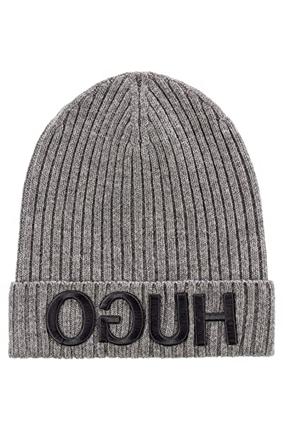 91e87872e45 Image Unavailable. Image not available for. Color  Hugo Boss Unisex-X 537  Grey Wool Beanie Cap ...