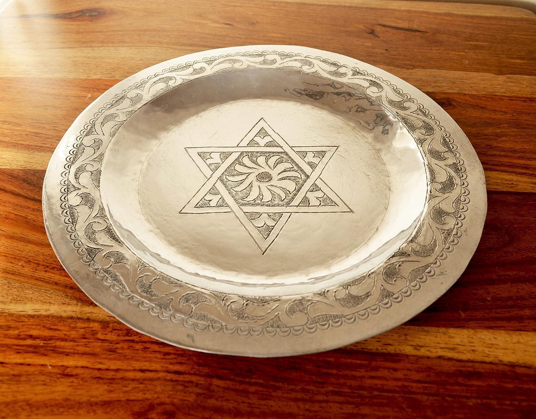 Auténtica bandeja de aluminio marroquí grabada y moldeada con estrella de David - Diámetro25 Altura 2 cm: Amazon.es: Hogar