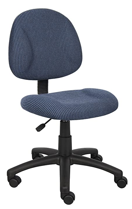 boss office products b315be perfect posture delux fabric task chair without arms in blue