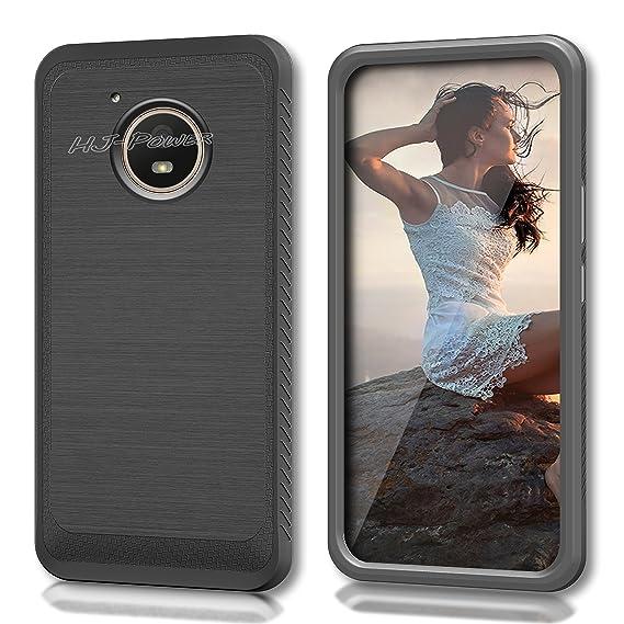 buy popular 9dd03 cb0f0 Moto E4 Case, HJ Power[TM] For Motorola Moto E4/XT1767 (Verizon, Sprint,  Boost Mobile)--CS4 HYBRID Case Black Black