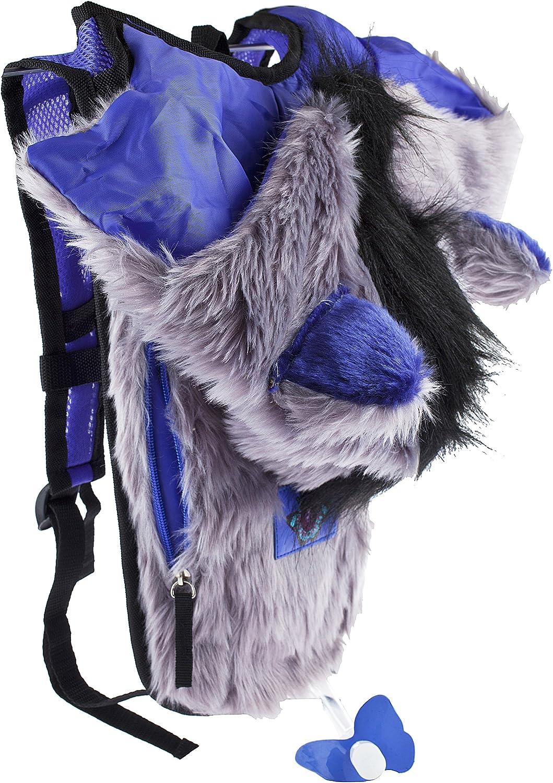 Dan-Pak Hydration Pack 2l - Rage Wolf- Faux Fur Hooded Bag