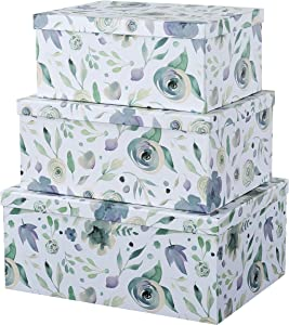 Soul & Lane Decorative Storage Cardboard Boxes with Lids | Handpicked Bouquet - Set of 3 | Floral Paperboard Nesting Boxes