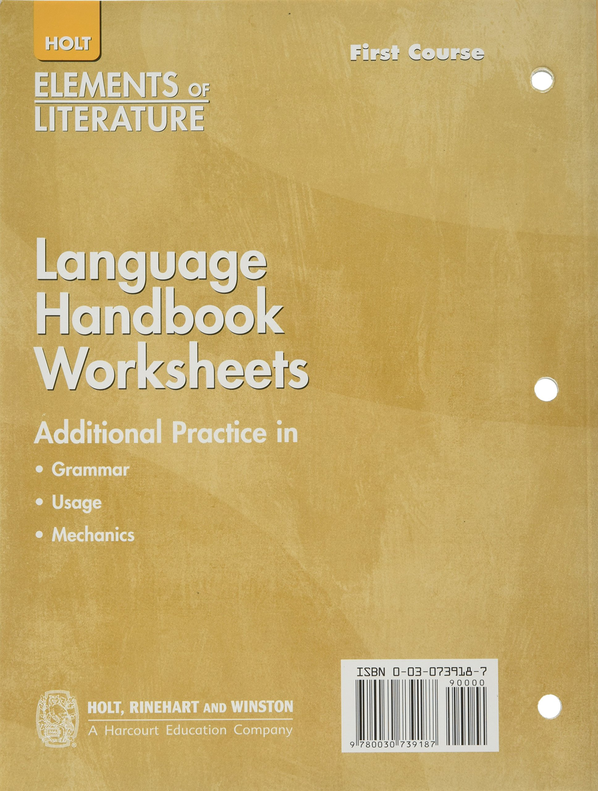 Buy Language Handbook Worksheets Additional Practice In Grammar Usage And Mechanics Correlated To Rules In The Language Handbook Elements Of Literature Book Online At Low Prices In India Language Handbook [ 2560 x 1936 Pixel ]