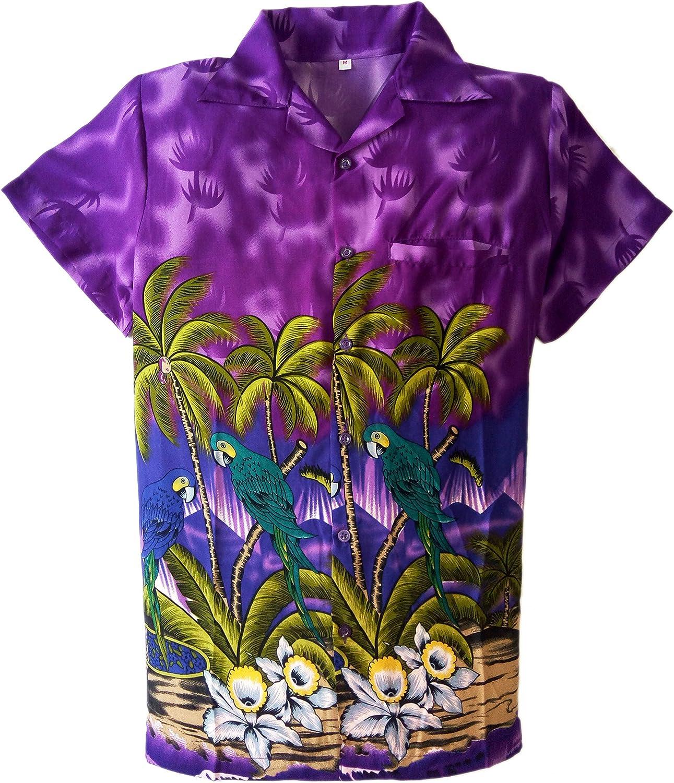Camisa Hawaiana para Hombre, diseño de Loros, para la Playa, Fiestas, Verano y Vacaciones - 2XL - Morado: Amazon.es: Ropa y accesorios