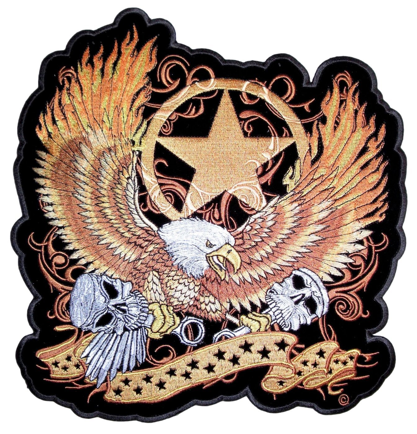 Leather Supreme Flaming Gold American Eagle Embroidered Biker Patch-Gold-Large