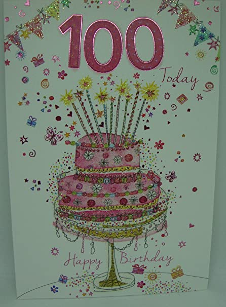 100th Birthday Card Ladies Gorgeous Cake Design With Insert Verse Amazoncouk Kitchen Home