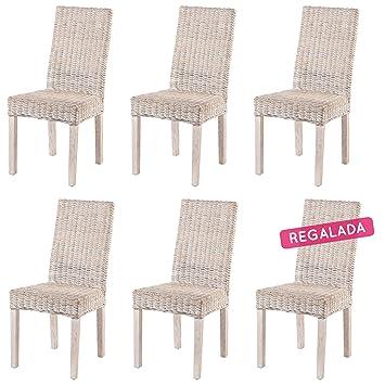 Rotin Design Rebajas : -50% Lote 6 sillas de ratán Baratas y Modernas para Comedor ZICAVO: Amazon.es: Hogar