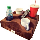Cup Cozy Deluxe Pillow (Brown)- The world's BEST cup holder! Keep your drinks close and prevent spills. Use it anywhere-Couch, floor, bed, man cave, car, RV, park, beach and more!