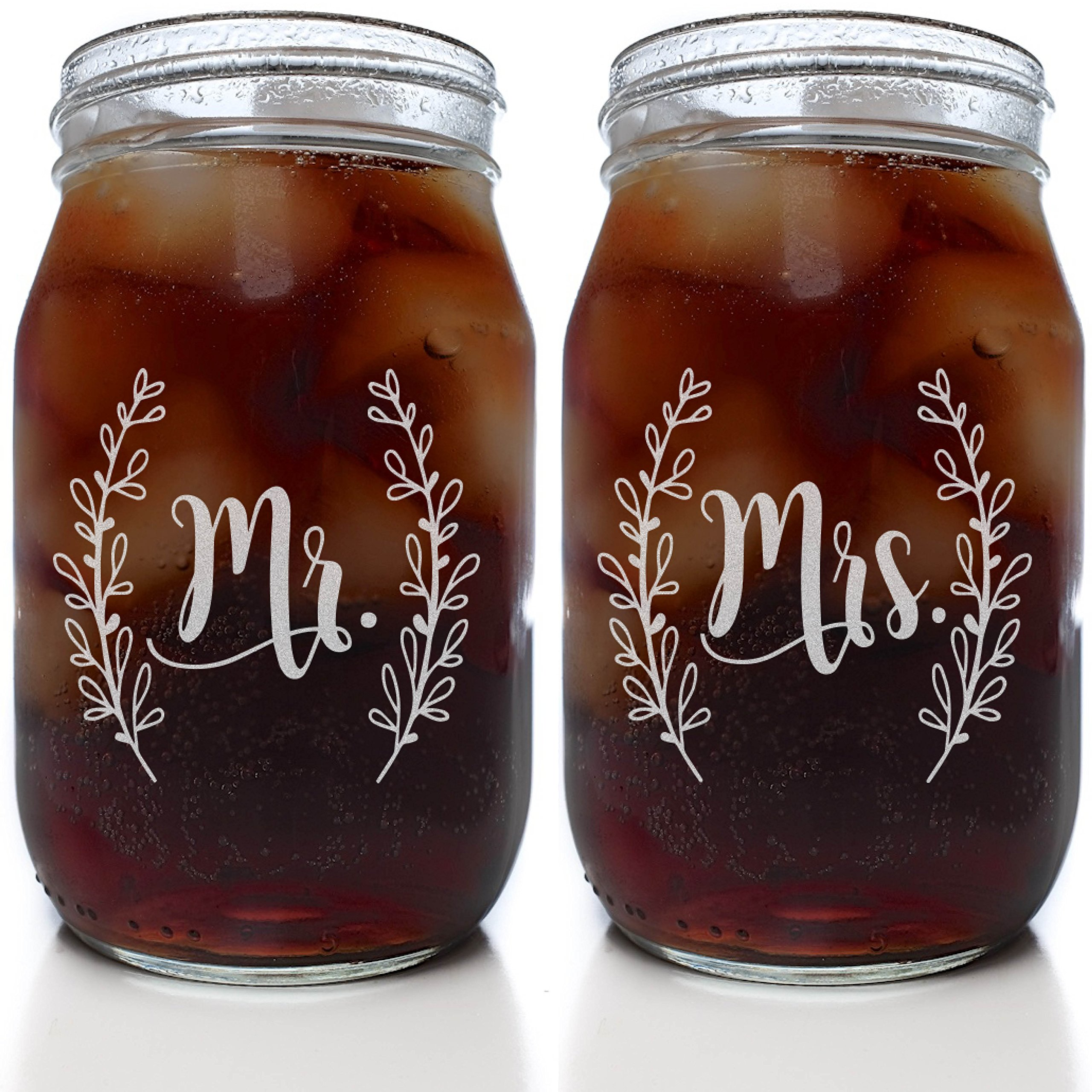 Mr & Mrs Mason Jar Set in Cute Script (Set of 2 Clear 16 oz. Mason Jar Glasses) by Alder House Market