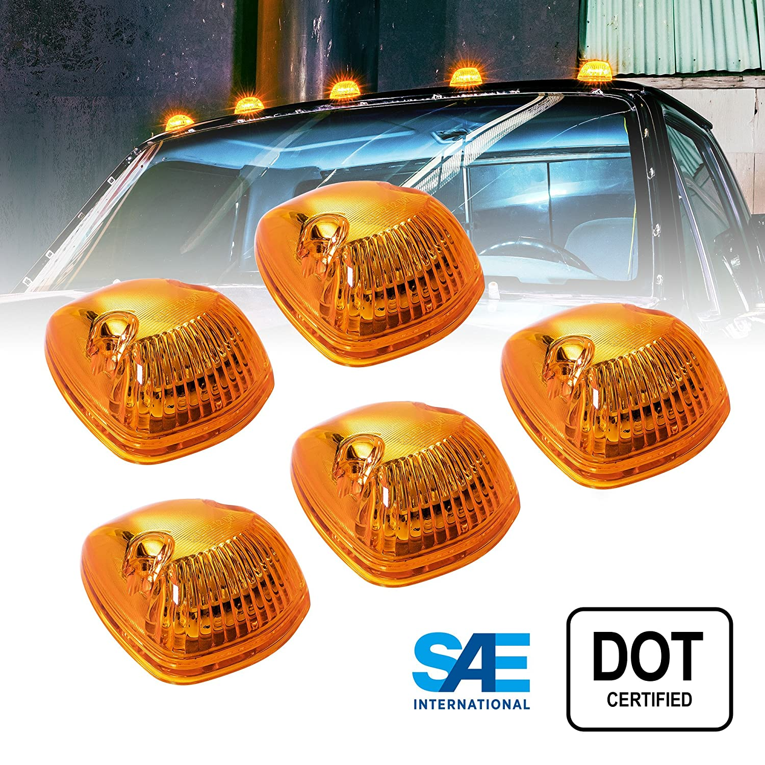 5pc Amber LED Cab Lights [DOT/SAE Certified] [12 LED] [Waterproof] [Heavy Duty] LED Roof Top Marker Running Lights - (Universal Fit or Replacement for 94-98 Dodge Ram) ONLINE LED STORE
